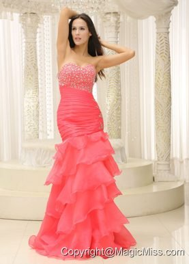 Mermaid Sweetheart Beaded Decorate Bust Ruched Bodice and Layers For 2013 Prom Dress Customize
