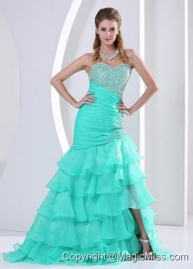 Aque Blue Ruched Layered Beaded Decorate and Ruch Bodice Sweetheart Prom Dress