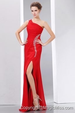 Cheap Red Prom Dress Column One Shoulder Beading Floor-length Chiffon