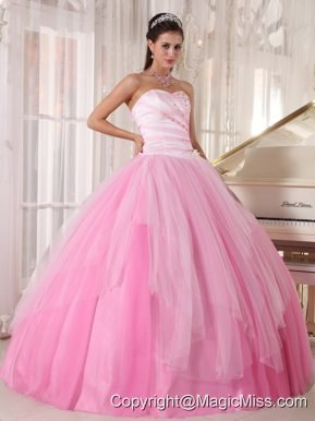 Pink Ball Gown Sweetheart Floor-length Tulle Beading Quinceanera Dress