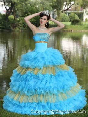 Beaded Decorate Bust Sequins Organza Aqua Blue and Yellow Strapless Floor-length Tiered Sweet Quinceanera Dress For 2013