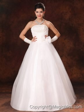 Bowknot Organza Strapless A-Line Garden Wedding Gowns For Custom Made In 2013