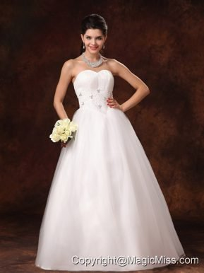 Sweetheart Beaded 2013 New Arrival A-Line Church Wedding Dress With Lace Up In Mobile Alabama