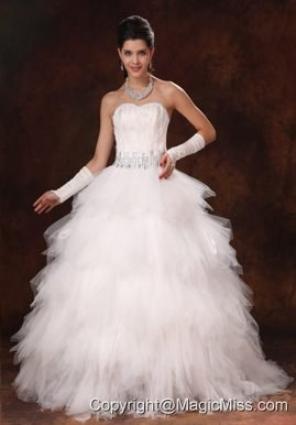 Feather Beaded Decorate Waist Tulle Sweetheart Gorgeous 2013 Custom Made Wedding Dress
