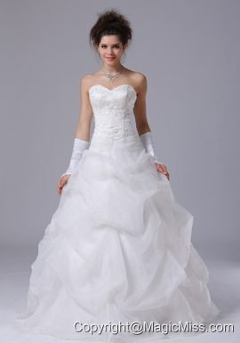 Pick Up Beading Beautiful Sweetheart A-Line Hall Wedding Dress