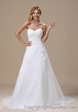 Wedding Dress With Ruched Bodice and Appliques Chiffon Custom Made
