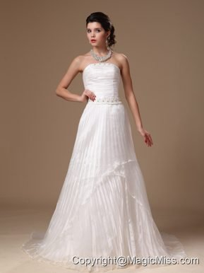 Organza Strapless Beaded Decorate Waist A-line Court Train Custom Made 2013 Wedding Dress