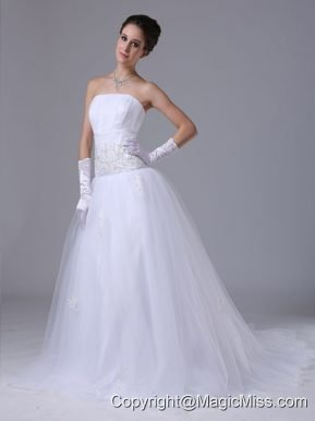 Beaded Decorate Waist Tulle Strapless A-Line Garden / Outdoor Wedding Dress Zipper-up