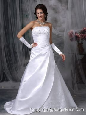 Beauty A-line Strapless Court Train Satin Embroidery Wedding Dress