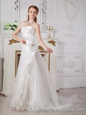 Classical A-line Sweetheart Court Train Organza Beading Wedding Dress
