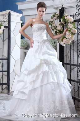 Affordable A-line Strapless Court Train Organza Beading and Appliques Wedding Dress