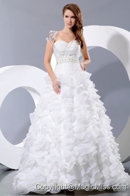 Gorgeous A-line Sweetheart Court Train Satin and Organza Beading and Ruffles Wedding Dress