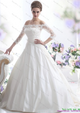 2015 Elegant Off the Shoulder Wedding Dress with three fourthes  Length Sleeve