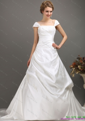 2015 Popular Square Lace Wedding Dress with Floor length
