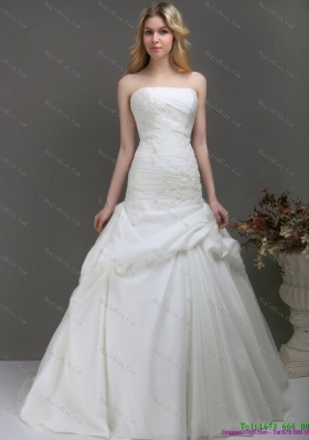 New Style Strapless Wedding Dress with Ruching and Lace for 2015