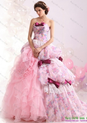 2015 Multi Color Ball Gown Ruffles Wedding Dresses with Lace and Bownot
