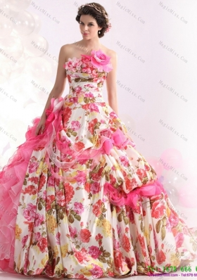 2015 Ruffles Multi Colour Wedding Dresses  with  Brush Train and Hand Made Flowers