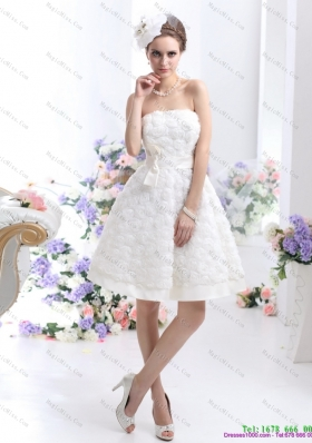 White Strapless  Short Wedding Dresses with Bownot and Rolling Fowers