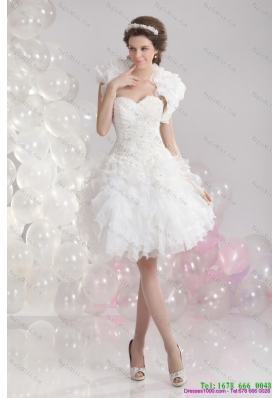 Pretty White Sweetheart Wedding Gowns with Ruffles and Sequins