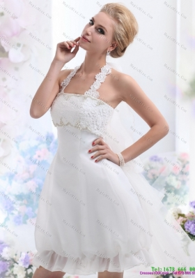 Cheap Halter Top Laced Short Wedding Dresses White