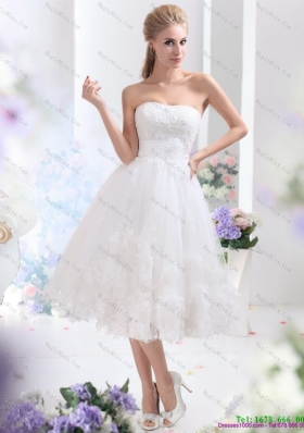 Discount White Straples Short Wedding Dresses with Sequins