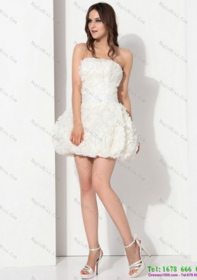 Perfect White Strapless Ruffled Short Wedding Dresses with Bownot