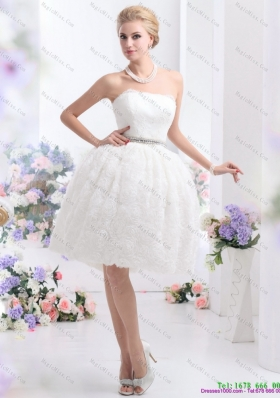2015 Classical Strapless Wedding Dress with Knee length
