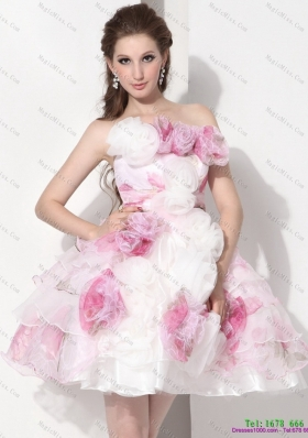 Multi Color Strapless Short Wedding Dresses with Hand Made Flower