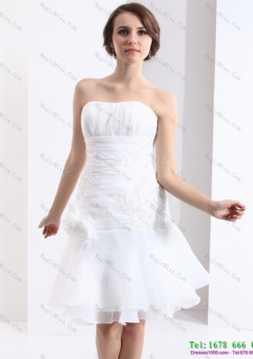 2015 Wonderful Strapless Short Wedding Dress with Knee-length