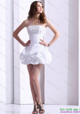 2015 Wonderful Strapless Lace Wedding Dress with Mini length