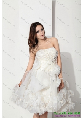 White Strapless Ruffled Short Bridal Dresses with Hand Made Flower