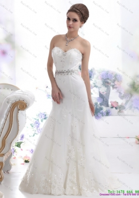 2015 Modest Sweetheart Paillette Wedding Dress with Floor-length