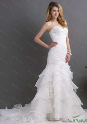 2015 Modest Sweetheart Wedding Dress with Ruching and Ruffles