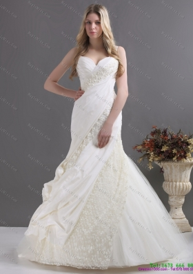 Sophisticated A Line Wedding Dress with Ruching and Lace for 2015