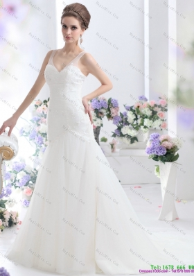2015 Elegant A Line Wedding Dress with Lace