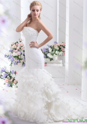 2015 Brand New Strapless Wedding Dress with Mermaid