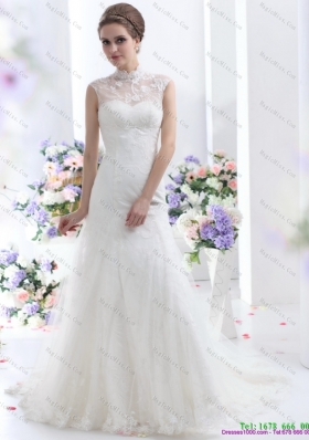 Cute White Laced Wedding Dresses with Brush Train