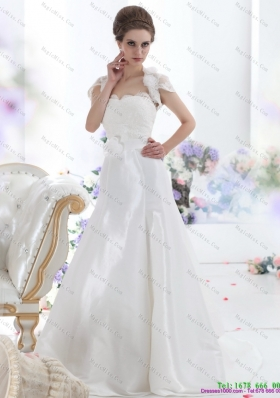 White Sweetheart Brush Train Wedding Dresses with Hand Made Flower and Ruffles