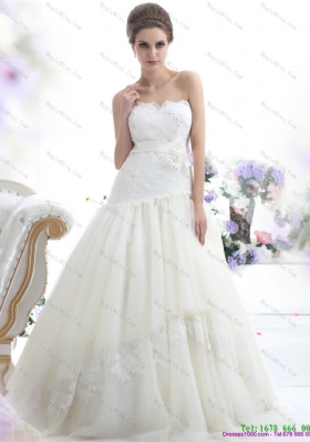 Ruffled White Strapless Wedding Dresses with Sash and Bownot