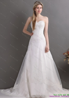 Gorgeous Laced Brush Train White Wedding Dresses in White