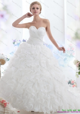 2015 Sweetheart Ruffles and Beading White Wedding Dresses with Brush Train