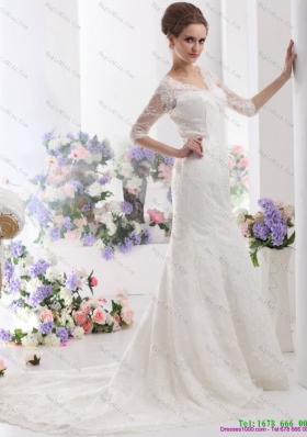 White V Neck Lace Wedding Dresses with  Brush Train and Half Sleeves