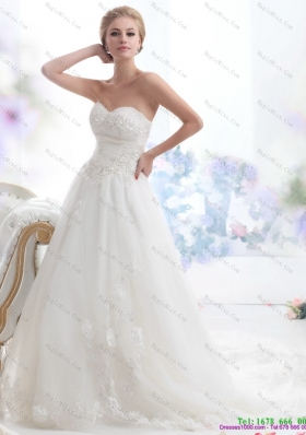Luxurious Sweetheart Brush Train Wedding Dress with Beading