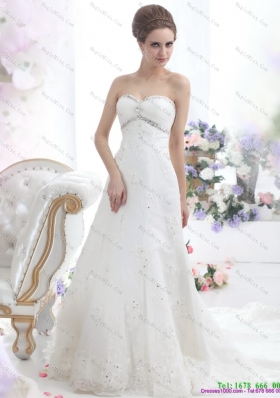 2015 New Style Sweetheart Wedding Dress with Beadings
