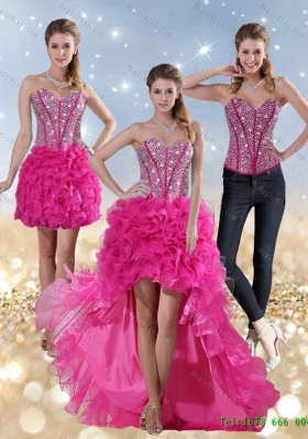 2015 Detachable Hot Pink High Low Sweetheart Prom skirts with Beading and Ruffled Layers