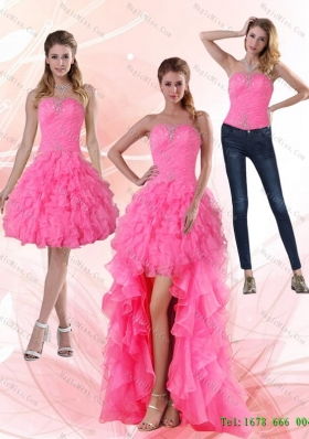 2015 Detachable Most Popular Strapless Prom Skirts with Beading and Ruffled Layers
