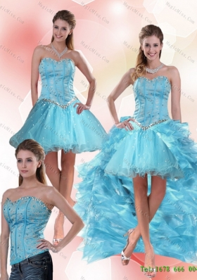 Detachable Unique Aqua Blue Sweetheart High Low Prom Skirts with Ruffles and Beading