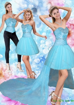 Detachable Unique High Low Sweetheart Beading Prom skirts in Baby Blue