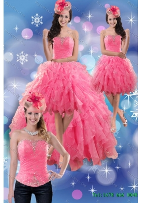 Sturning 2015 Detachable Strapless High Low Prom skirts with Beading and Ruffles