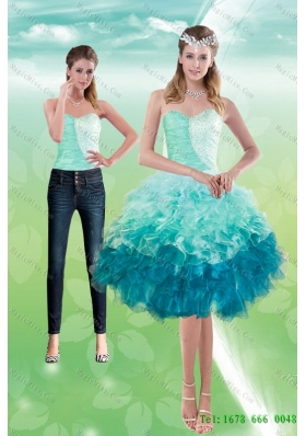 Elegant Sweetheart Multi Color 2015 Detachable Prom skirts  with Beading and Ruffles